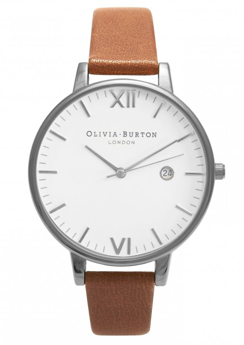 Timeless White Face Watch - Tan & Silver main image