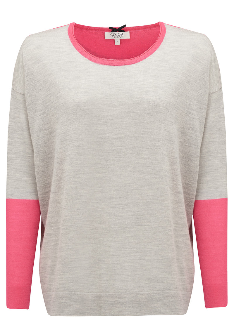 COCOA CASHMERE Colour Block Sweater - Grey & Shocking Pink