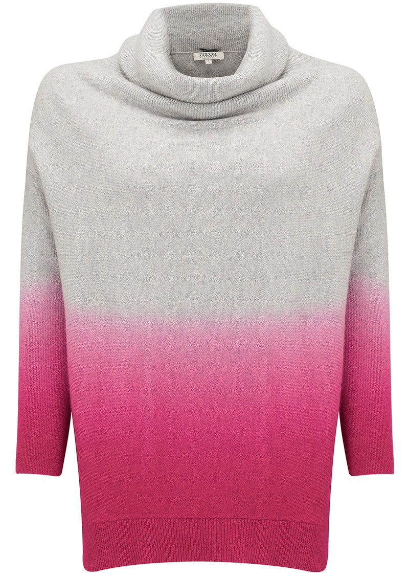 COCOA CASHMERE Cowl Neck Swing Ombre Sweater - Grey & Day Glow