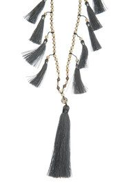 TRIBE + FABLE Multi Tassel Necklace - Grey & Ivory
