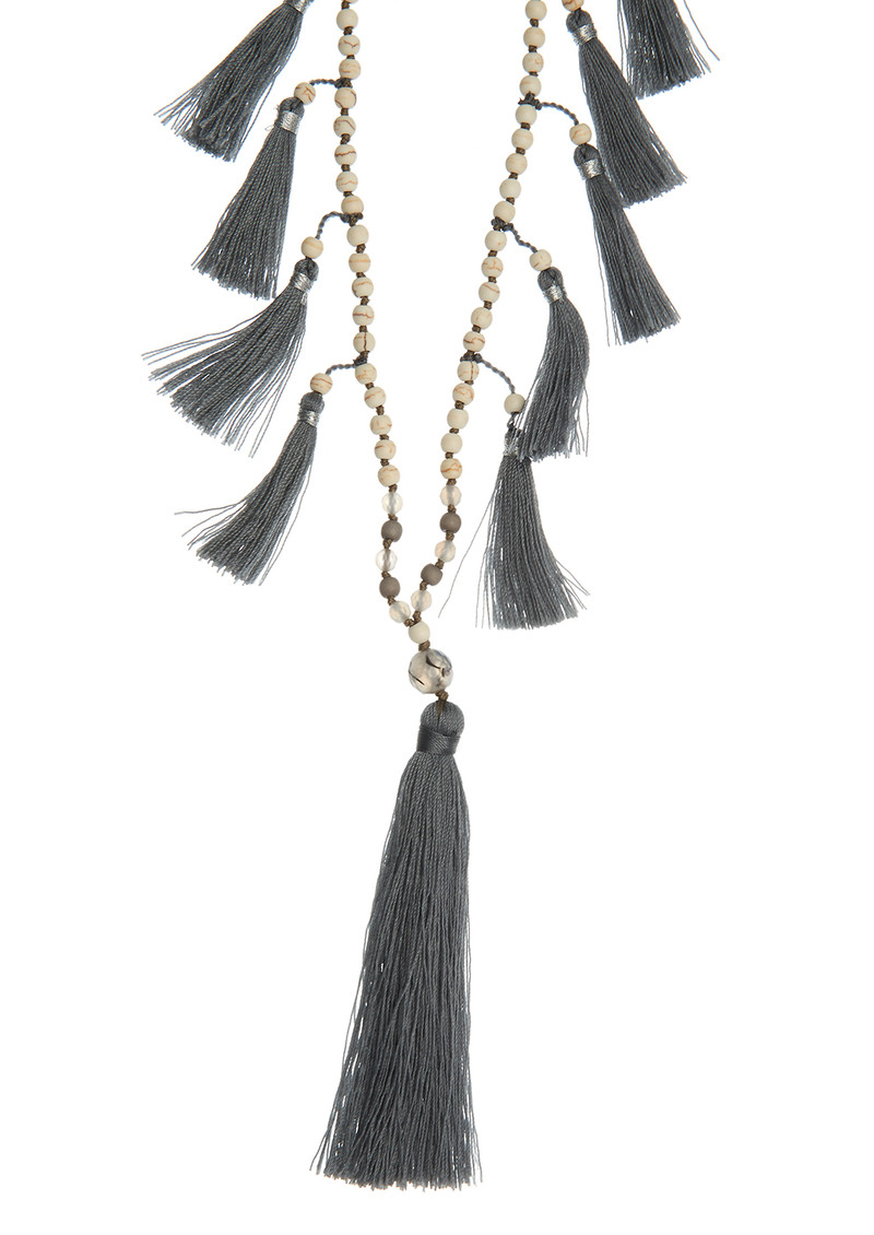 TRIBE + FABLE Multi Tassel Necklace - Grey & Ivory main image