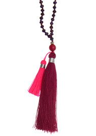 TRIBE + FABLE Double Tassel Necklace - Burgundy & Pink