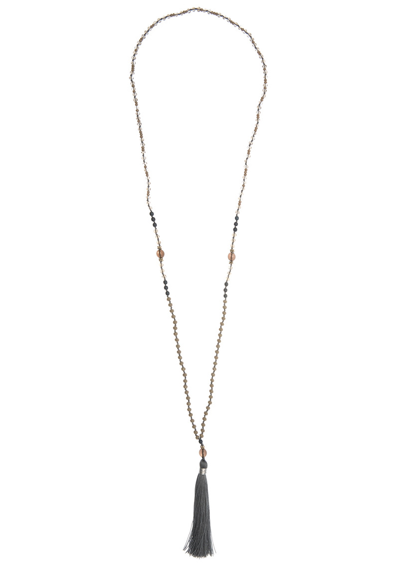 TRIBE + FABLE Single Tassel Necklace - Grey Crystal main image