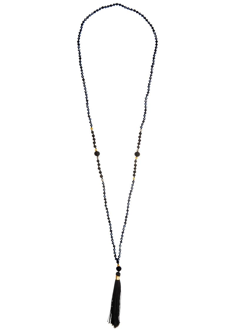 TRIBE + FABLE Single Tassel Necklace - Black Volcano main image