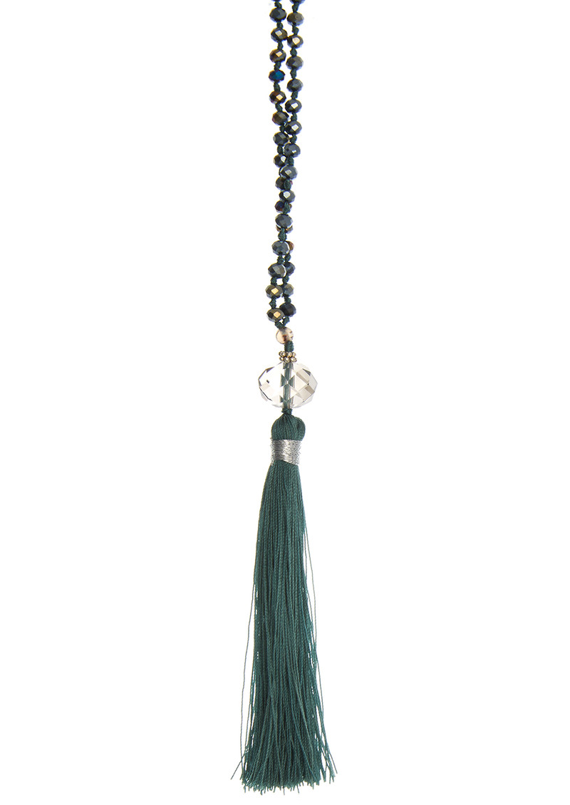 TRIBE + FABLE Single Tassel Necklace - Dark Grey & Agate main image