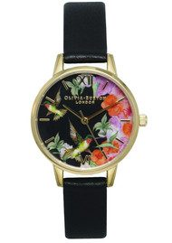 Olivia Burton Painterly Prints Midi Hummingbird Watch - Black & Gold