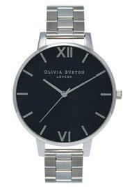 Olivia Burton Big Black Dial Bracelet Watch - Silver