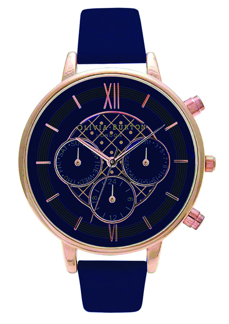 Olivia Burton Chrono Detail Navy Dial Watch - Navy & Rose Gold main image