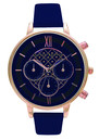 Olivia Burton Chrono Detail Navy Dial Watch - Navy & Rose Gold