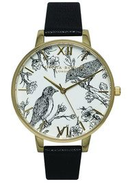 Olivia Burton Animal Motif Birds In Love Watch - Black & Gold