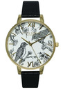 Animal Motif Birds In Love Watch - Black & Gold additional image