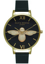 Olivia Burton Moulded Bee Black Dial Watch Black & Gold