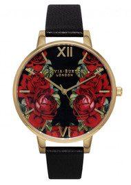 Olivia Burton English Rose Mirror Rose Watch - Black & Gold