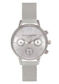 Olivia Burton Midi Dial Chrono Mesh Watch - Silver