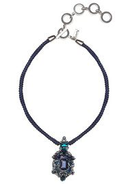 Butterfly Silky Rope Statement Pendant Necklace - Blue & Silver