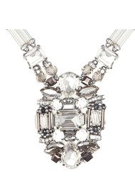 Butterfly Deco Style Glacier Pendant Necklace - Crystal & Silver