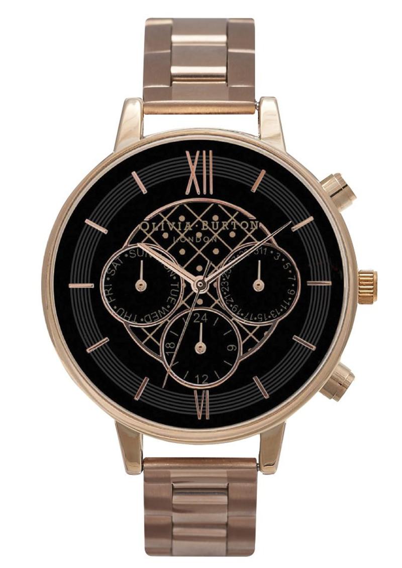Olivia Burton Chrono Detail Black Dial Bracelet Watch - Rose Gold main image