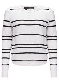 360 SWEATER Oakland Striped Sweater - White & Black