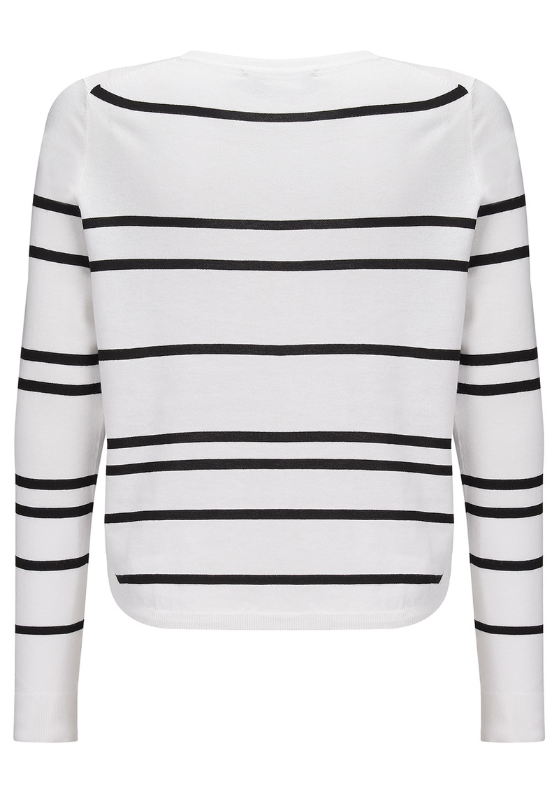 360 SWEATER Oakland Striped Sweater - White & Black main image