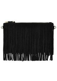 MIGHTY PURSE Mighty Purse Suede Fringe Clutch - Black