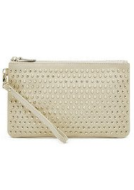 MIGHTY PURSE Mighty Purse Studded Clutch - Cream Gold