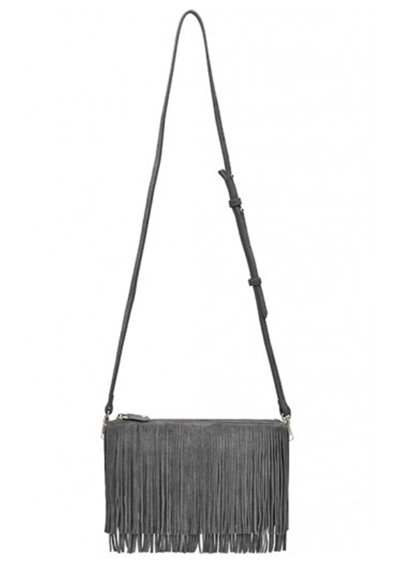 MIGHTY PURSE Mighty Purse Suede Fringe Clutch - Grey main image